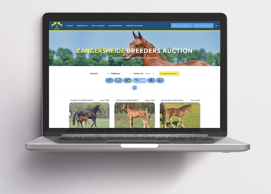 Zangersheide Breeders Auction is gerealiseerd door Pweb Solutions
